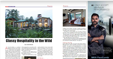 Jakson Resorts Jim Corbett - The Tiger Groove by Jakson Hospitality was recently featured in the Sept- October 2019 issue of the Hotel Business Review magazine (Page 50,51 & 52).