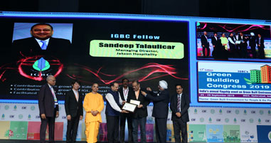 Mr Sandeep Talaulicar, MD Jakson Hospitality on being awarded the IGBC Fellowship by India Green Building Council for his outstanding work on Environment Sustainability. Mr Talaulicar received the award at a glittering ceremony organized at India Green